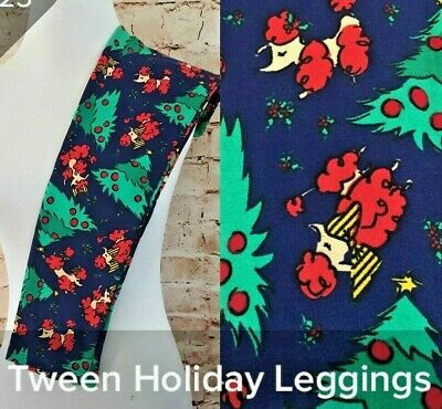 LuLaRoe Size Tween Holiday Christmas Poodles Dogs Trees Leggings NWT