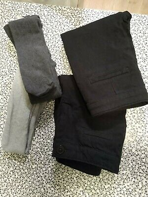 2x Girls NEXT Black Slim Fit Stretch School Trousers AGE 9, 2pairs of H&M Tights