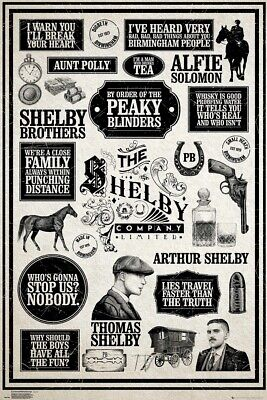 """PEAKY BLINDERS - TV SHOW POSTER (INFOGRAPHIC) (SIZE: 24"""" x 36"""")"""