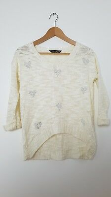 DOROTHY PERKINS Cream Ivory Heart Knit Jumper Sweater Extra Small 6 8 Casual