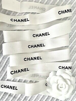 """CHANEL 85"""" INCHES Authentic WHITE BLACK Grosgrain Ribbon W/ Flower"""