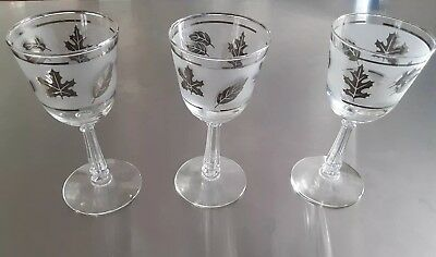 3 Small Wine Cordial Glasses Goblets Vintage Frosted Leaves Silver Tone Rim Set