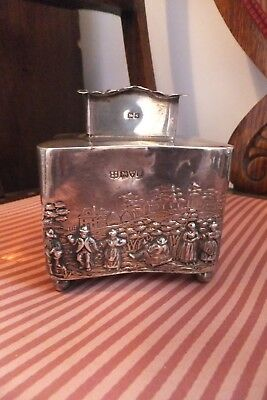 Antique Edwardian Sterling Solid Silver Tea Caddy  Chester 1907 George Nathan