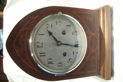 Antique / Vintage Inlaid 30 Day Wooden Arched Striking Mantle Clock.