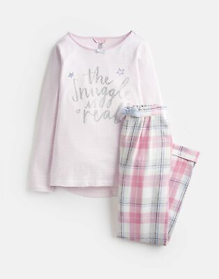 Joules Girls Neoma Jersey Woven Set 1 12 Years in PINK SNUGGLE Size 3yr