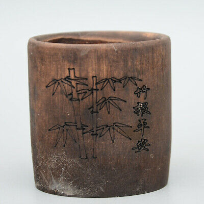 Collectable China Rare Antique Wood Hand-Carved Bamboo Delicate Unique Brush Pot
