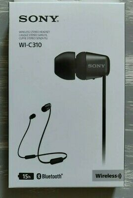 Sony WI-C310 Wireless Stereo Headset -BLack - 15 Hours Battery Life. New.Sealed.