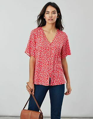 Joules Womens Georgie Short Sleeve V Neck Button Through in RED SPOT Size 14