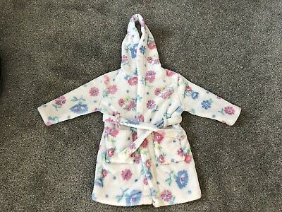 Excellent Condition John Lewis Dressing Gown 2-3 White Floral Hooded Girls
