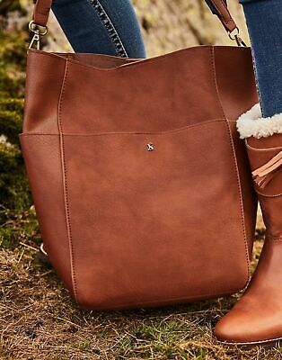 Joules Womens Wayfield Bright Faux Leather Bucket Bag in TAN in One Size