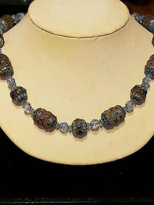 Antique Chinese Cloisonne Enamel Flower Mesh Silver Beads Crystal Necklace 1900s