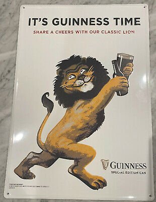 """New! Guinness Beer Gilroy """"it's Guinness Time"""" Lion Metal Tin Sign Tacker 14x20"""
