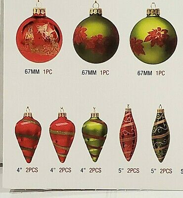 NEW 87 Piece Hand-Painted Glass Christmas Ornaments Ribbons and Tassels Set