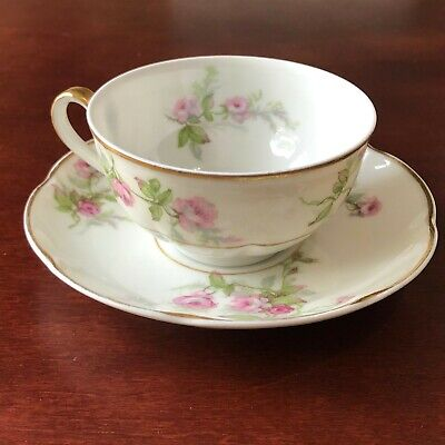 Theodore Haviland China Limoges France Tea Coffee Cup with Saucer Pink Rose