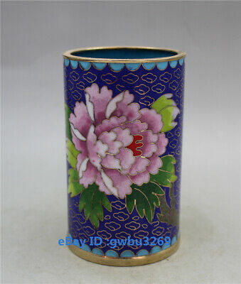 China Cloisonne Handwork Carved Brush pot Peony flower bird Pen holder