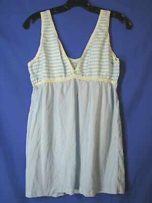 JC PENNEY'S Vintage YOUTH GIRLS NIGHT GOWN Knit Upper Silky Skirt BLUE CHECK L
