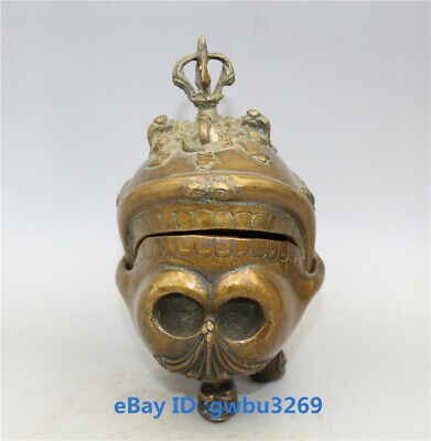 Collection Chinese old Brass Hand-carved Skull head Vajra Statues Incense burner
