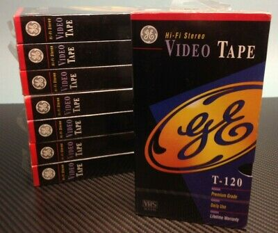 GE VHS Video Cassette Tapes T120 8-Pack Blank Set NEW