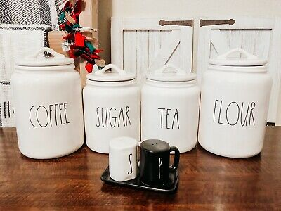 Rae Dunn COFFEE, FLOUR, SUGAR, TEA, SALT & PEPPER Canister Set Of 6 By Magenta