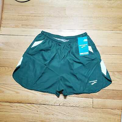 BROOKS Men's Running Black  Green Built-in Briefs Athletic Shorts multiple Size