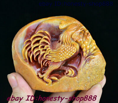 China Shoushan Stone Carving Feng shui 12 Zodiac Year Animal Rooster Cock Statue