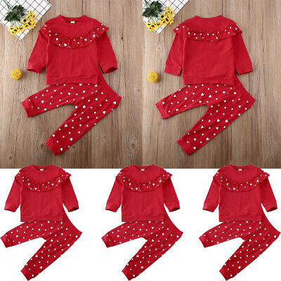 Valentine's Day Newborn Toddler Baby Girls Long sleeve Top Trouser Pant Outfits