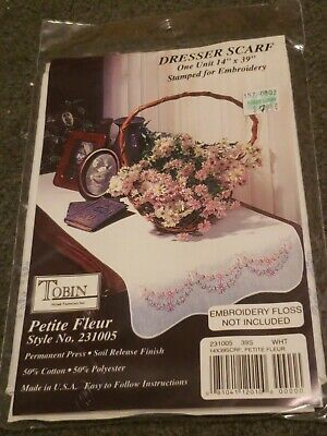 """Tobin Stamped For Embroidery White Dresser Scarf 14""""X39""""-Petite Fleur"""