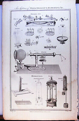 Antique Science Print Electricity Hydraulics Equipment 18/19thC