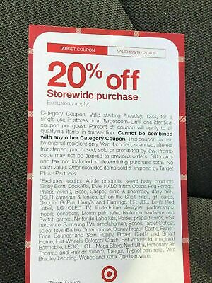 Target 20% Off Coupon Valid  From 12/3-12/14/19 . Online or in store.