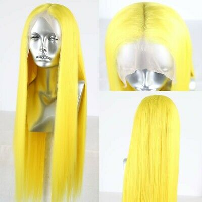 """AU 24"""" Cosplay Women Synthetic Lace front wigs Silky Straight Yellow"""