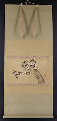 """JAPANESE HANGING SCROLL ART Painting """"Blossoms"""" Asian antique  #E9665"""