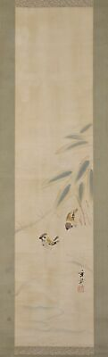 """JAPANESE HANGING SCROLL ART Painting """"Sparros"""" Ikegami Shuho  #E9638"""