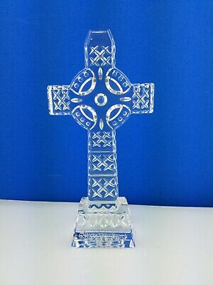 """Waterford Crystal 8"""" Diamond Cut Standing Celtic Cross Presentation inscribed"""