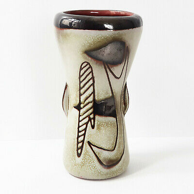 Beautiful Vase Vintage 1960 in Sandstone Decorated with Abstract 60S 60'S `60