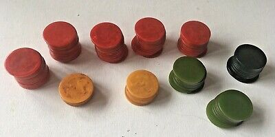 Vintage Marbled Bakelite Catalin Poker Chip Lot Of 101 Chips In 4 Colors