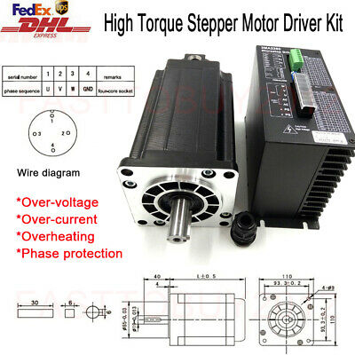 High Torque 12Nm Stepper Motor NEMA42 Driver Kit 3Ph 6A for CNC Router Cutting