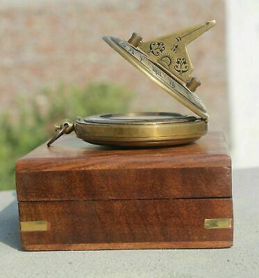 "Push Button 2"" Sundial Brass Compass With Box Handmade Nautical Compass"