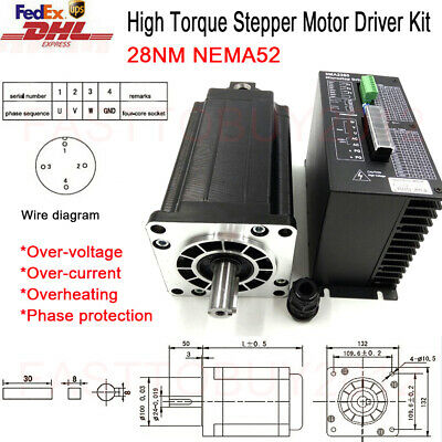 NEMA52 High Torque Stepper Motor 28Nm3Ph Hybrid Stepper Driver Kit CNC Engraving