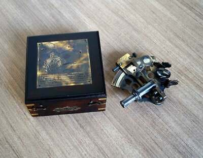 Marine 4 Inch Solid Brass Sextant Astrolabe With Black Wooden Box Case