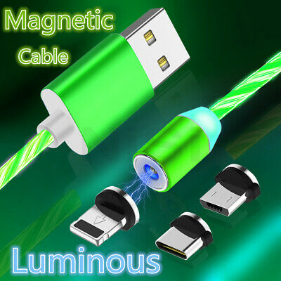 LED Magnetic Type-C Micro USB IOS Adapter Charging Charger Cable For Samsung LOT