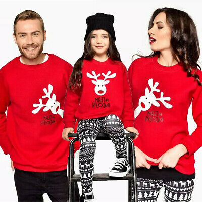 AU Family Matching Adult Kid Xmas Christmas Jumper Sweaters Tops Pullover Blouse