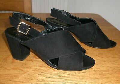 New Look 915 - Black Suede Effect Sandals - Size 5