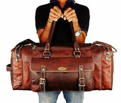 """24"""" Travel Bags For Men Vintage Leather Duffle Bag Women Carry On Holdall Bag"""