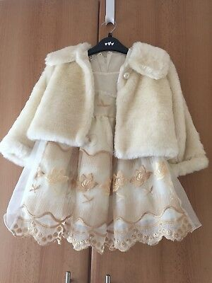 Very Pretty Faux Fur Jacket With Floral Dress Age 2-3 Years Toddler/child