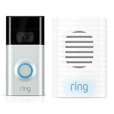 New Ring Video Doorbell 2 + Ring Chime Bundle Pack - Home Security Camera