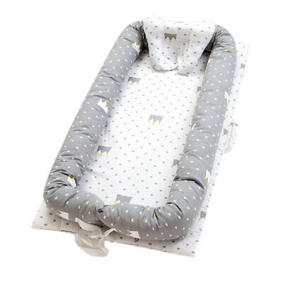 Cute Baby Bassinet for Bed Baby Lounger Co-Sleeping Bed Portable Crib Grey Crown