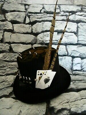 MENS Black Steampunk Top Hat Cards Spike Studs Bullets Chain Goggles Skull (NY)
