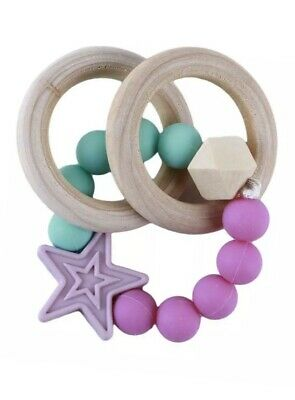 Teether Bracelet Baby Wooden Teethers Toy Ring Stroller Chew Boys Girls Gift FW
