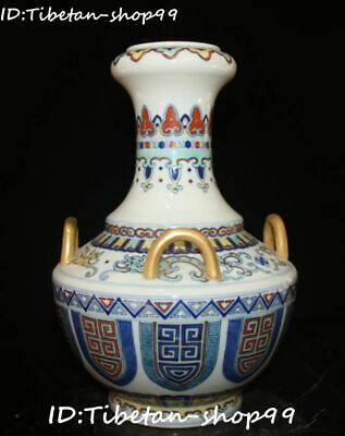 "11"" Top Wucai Porcelain Gold Qing Dynasty Dragon Beast Flower Bottle Vase Statue"