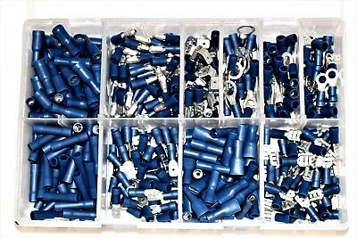 Assorted Box of Blue Crimp On Terminals QTY 400 Pieces Electrical Wiring AT81